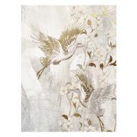 Vászon falikép, aranyozott dau, 60x80 cm, fehér - OISEAU DE PARADIS